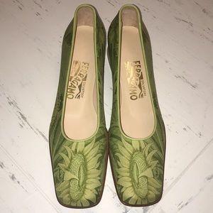 Salvatore Ferragamo Green Sunflower Print Shoes BN